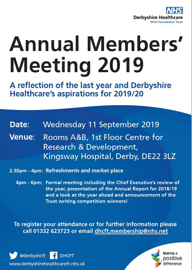 Derbyshire Healthcare invites the public to learn more about its work at annual meeting
